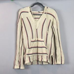 Cream Striped Hooded Sweater